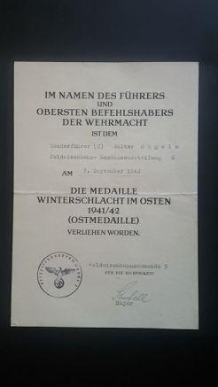 documento militar-concesion invierno frente este-alemania-WWII 1